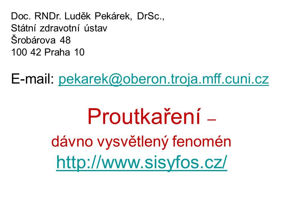 Doc. RNDr. Luděk Pekárek, DrSc., Státní zdravotní ústav Šrobárova 48 100 42 Praha 10 E-mail: pekarek@oberon.troja.mff.cuni.czpekarek@oberon.troja.mff.