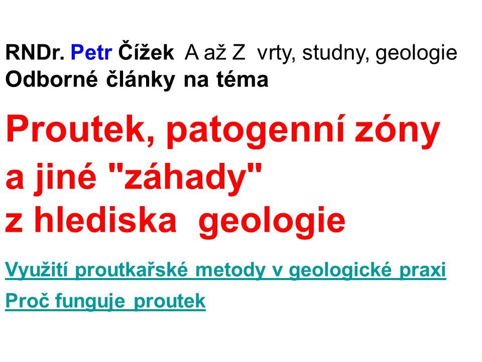 RNDr. Petr Čížek A až Z vrty, studny, geologie Odborné články na téma Proutek, patogenní zóny a jiné
