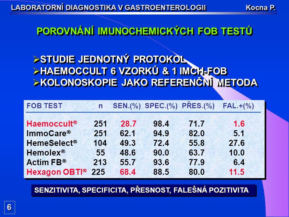 6 LABORATORNÍ DIAGNOSTIKA V GASTROENTEROLOGII Kocna P. FOB TEST n SEN.(%) SPEC.(%) PŘES.(%) FAL.+(%) Haemoccult  251 28.7 98.4 71.7 1.6 ImmoCa