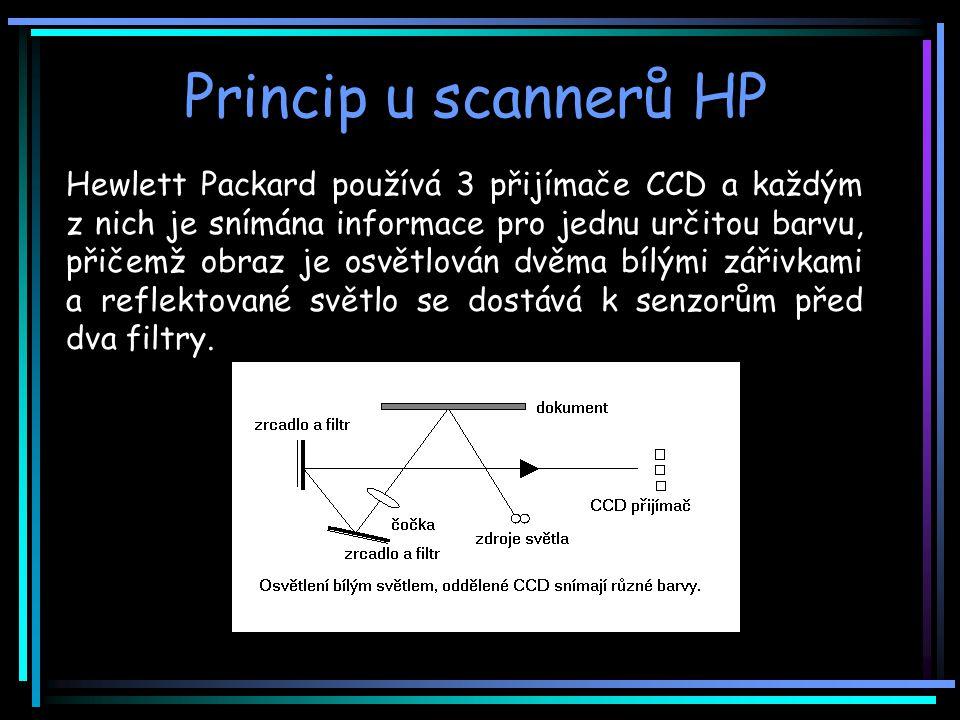 Princip u scannerů HP Hewlett Packard používá 3 přijímače CCD a každým z nich je snímána informace pro jednu určitou barvu, přičemž obraz je osvětlován dvěma bílými zářivkami a reflektované světlo se dostává k senzorům před dva filtry.