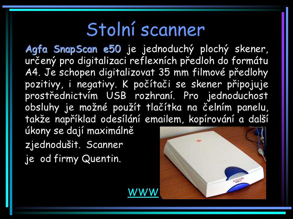 Stolní scanner Agfa SnapScan e50 Agfa SnapScan e50 je jednoduchý plochý skener, určený pro digitalizaci reflexních předloh do formátu A4.