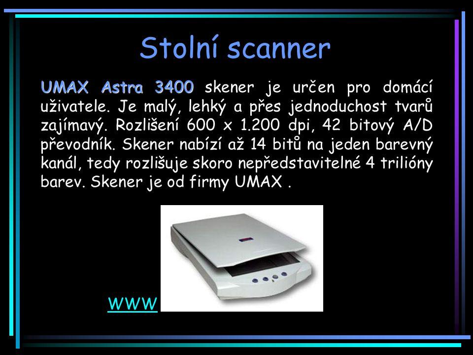 Stolní scanner UMAX Astra 3400 UMAX Astra 3400 skener je určen pro domácí uživatele.