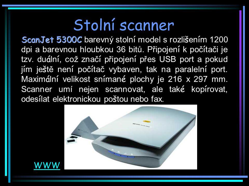 Stolní scanner ScanJet 5300C ScanJet 5300C barevný stoln í model s rozli š en í m 1200 dpi a barevnou hloubkou 36 bitů.