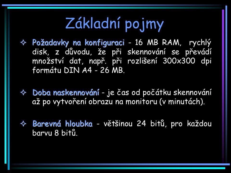 Základní pojmy  Požadavky na konfiguraci  Požadavky na konfiguraci - 16 MB RAM, rychlý disk, z důvodu, že při skennování se převádí množství dat, např.