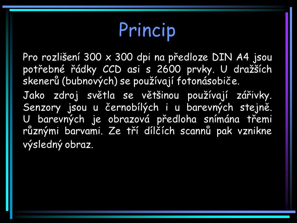 Princip Pro rozlišení 300 x 300 dpi na předloze DIN A4 jsou potřebné řádky CCD asi s 2600 prvky.