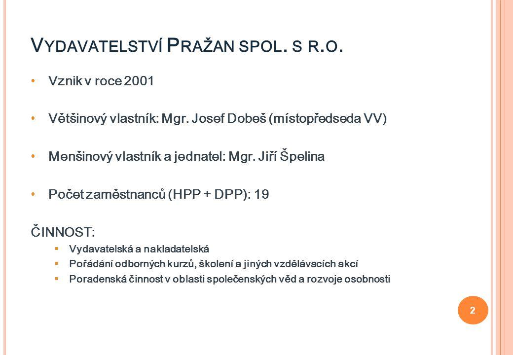 2 Vznik v roce 2001 Většinový vlastník: Mgr. Josef Dobeš (místopředseda VV) Menšinový vlastník a jednatel: Mgr. Jiří Špelina Počet zaměstnanců (HPP +