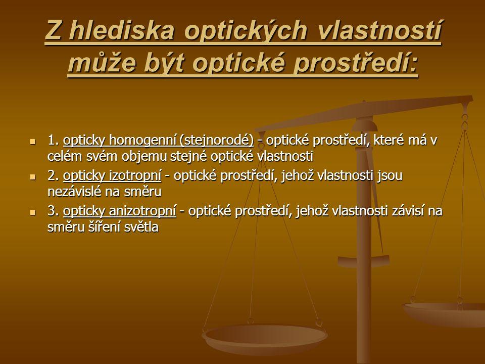 Z hlediska optických vlastností může být optické prostředí: 1. opticky homogenní (stejnorodé) - optické prostředí, které má v celém svém objemu stejné