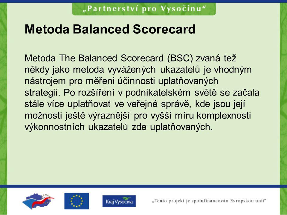 Metoda Balanced Scorecard Metoda The Balanced Scorecard (BSC) zvaná tež někdy jako metoda vyvážených ukazatelů je vhodným nástrojem pro měřeni účinnos