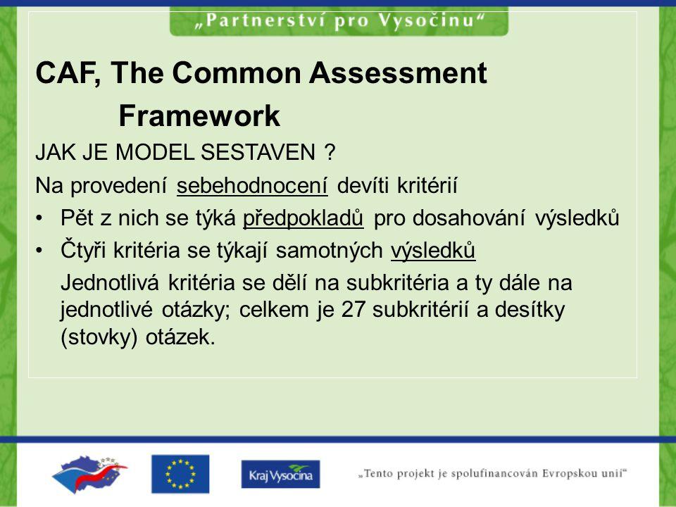CAF, The Common Assessment Framework JAK JE MODEL SESTAVEN ? Na provedení sebehodnocení devíti kritérií Pět z nich se týká předpokladů pro dosahování