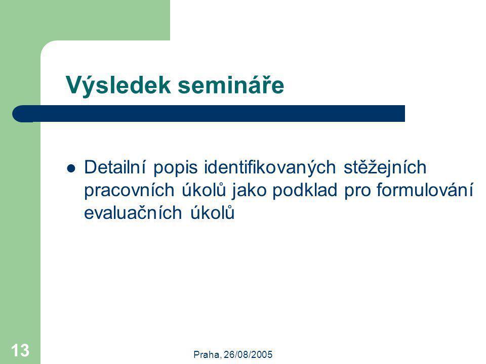 Praha, 26/08/2005 13 Výsledek semináře Detailní popis identifikovaných stěžejních pracovních úkolů jako podklad pro formulování evaluačních úkolů