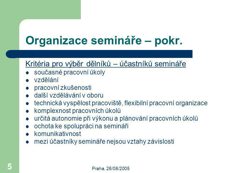 Praha, 26/08/2005 5 Organizace semináře – pokr.