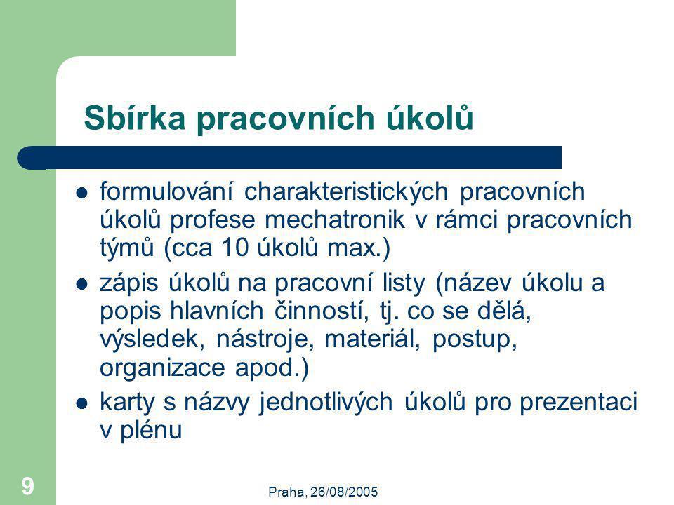Praha, 26/08/2005 9 Sbírka pracovních úkolů formulování charakteristických pracovních úkolů profese mechatronik v rámci pracovních týmů (cca 10 úkolů max.) zápis úkolů na pracovní listy (název úkolu a popis hlavních činností, tj.