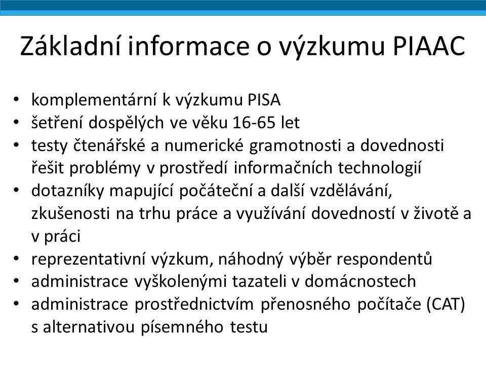 Základní informace o výzkumu PIAAC komplementární k výzkumu PISA šetření dospělých ve věku 16-65 let testy čtenářské a numerické gramotnosti a dovednosti řešit problémy v prostředí informačních technologií dotazníky mapující počáteční a další vzdělávání, zkušenosti na trhu práce a využívání dovedností v životě a v práci reprezentativní výzkum, náhodný výběr respondentů administrace vyškolenými tazateli v domácnostech administrace prostřednictvím přenosného počítače (CAT) s alternativou písemného testu