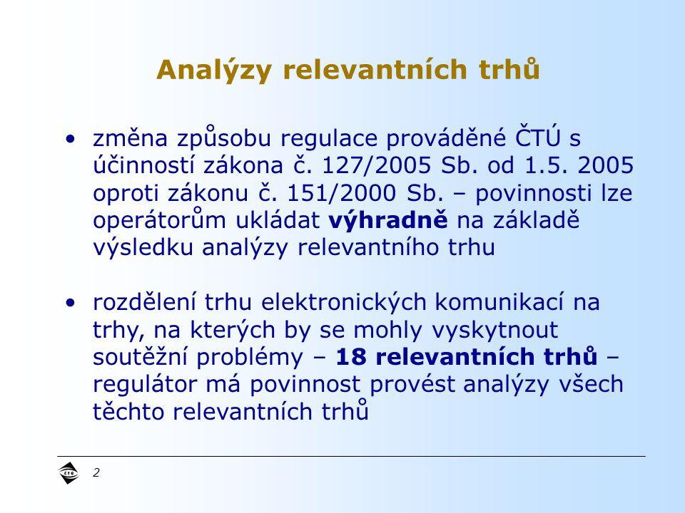 2 Analýzy relevantních trhů změna způsobu regulace prováděné ČTÚ s účinností zákona č.