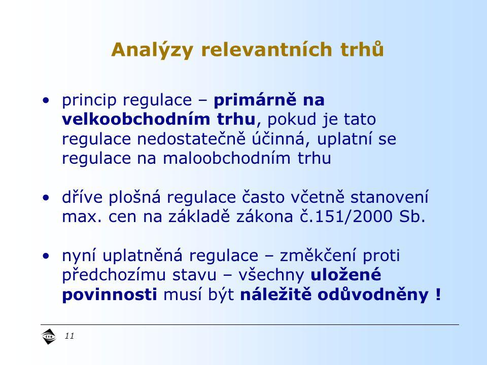 Analýzy relevantních trhů 11 princip regulace – primárně na velkoobchodním trhu, pokud je tato regulace nedostatečně účinná, uplatní se regulace na maloobchodním trhu dříve plošná regulace často včetně stanovení max.