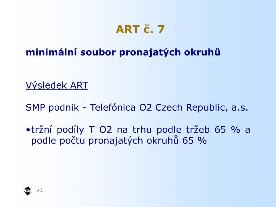 20 minimální soubor pronajatých okruhů Výsledek ART SMP podnik - Telefónica O2 Czech Republic, a.s.