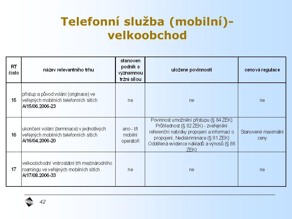 42 Telefonní služba (mobilní)- velkoobchod