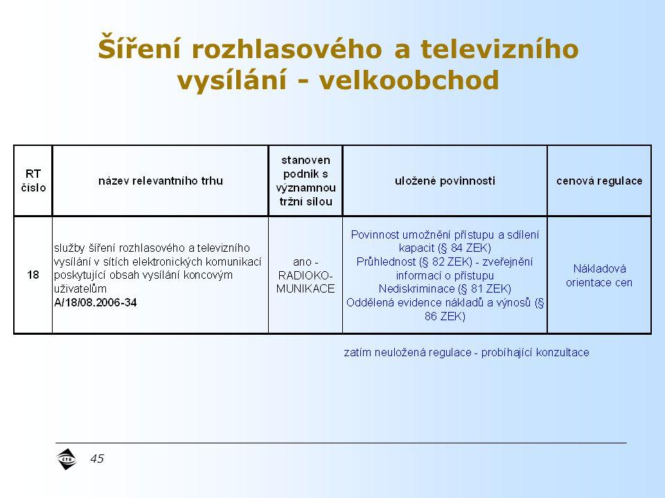 45 Šíření rozhlasového a televizního vysílání - velkoobchod