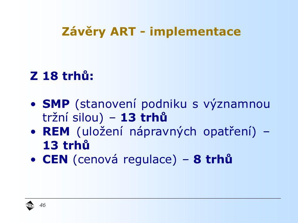 46 Z 18 trhů: SMP (stanovení podniku s významnou tržní silou) – 13 trhů REM (uložení nápravných opatření) – 13 trhů CEN (cenová regulace) – 8 trhů Závěry ART - implementace