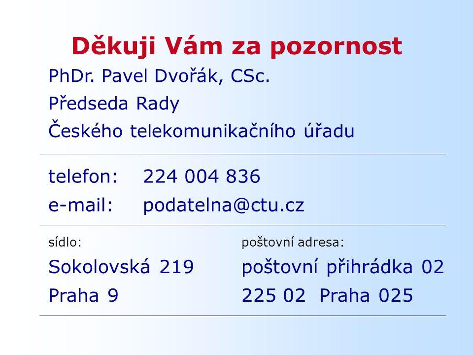 Děkuji Vám za pozornost sídlo: Sokolovská 219 Praha 9 poštovní adresa: poštovní přihrádka 02 225 02 Praha 025 PhDr.