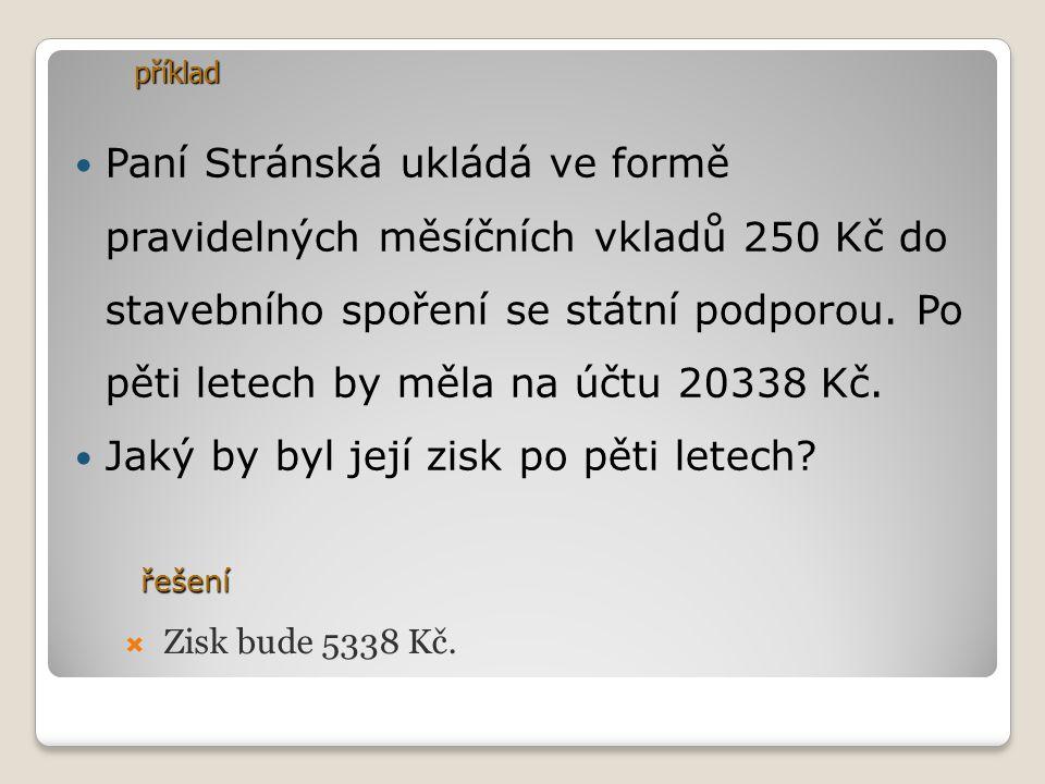 Paní Stránská ukládá ve formě pravidelných měsíčních vkladů 250 Kč do stavebního spoření se státní podporou. Po pěti letech by měla na účtu 20338 Kč.