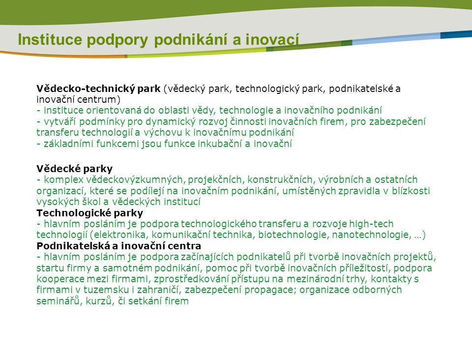 Instituce podpory podnikání a inovací Vědecko-technický park (vědecký park, technologický park, podnikatelské a inovační centrum) - instituce orientovaná do oblasti vědy, technologie a inovačního podnikání - vytváří podmínky pro dynamický rozvoj činnosti inovačních firem, pro zabezpečení transferu technologií a výchovu k inovačnímu podnikání - základními funkcemi jsou funkce inkubační a inovační Vědecké parky - komplex vědeckovýzkumných, projekčních, konstrukčních, výrobních a ostatních organizací, které se podílejí na inovačním podnikání, umístěných zpravidla v blízkosti vysokých škol a vědeckých institucí Technologické parky - hlavním posláním je podpora technologického transferu a rozvoje high-tech technologií (elektronika, komunikační technika, biotechnologie, nanotechnologie, …) Podnikatelská a inovační centra - hlavním posláním je podpora začínajících podnikatelů při tvorbě inovačních projektů, startu firmy a samotném podnikání, pomoc při tvorbě inovačních příležitostí, podpora kooperace mezi firmami, zprostředkování přístupu na mezinárodní trhy, kontakty s firmami v tuzemsku i zahraničí, zabezpečení propagace; organizace odborných seminářů, kurzů, či setkání firem
