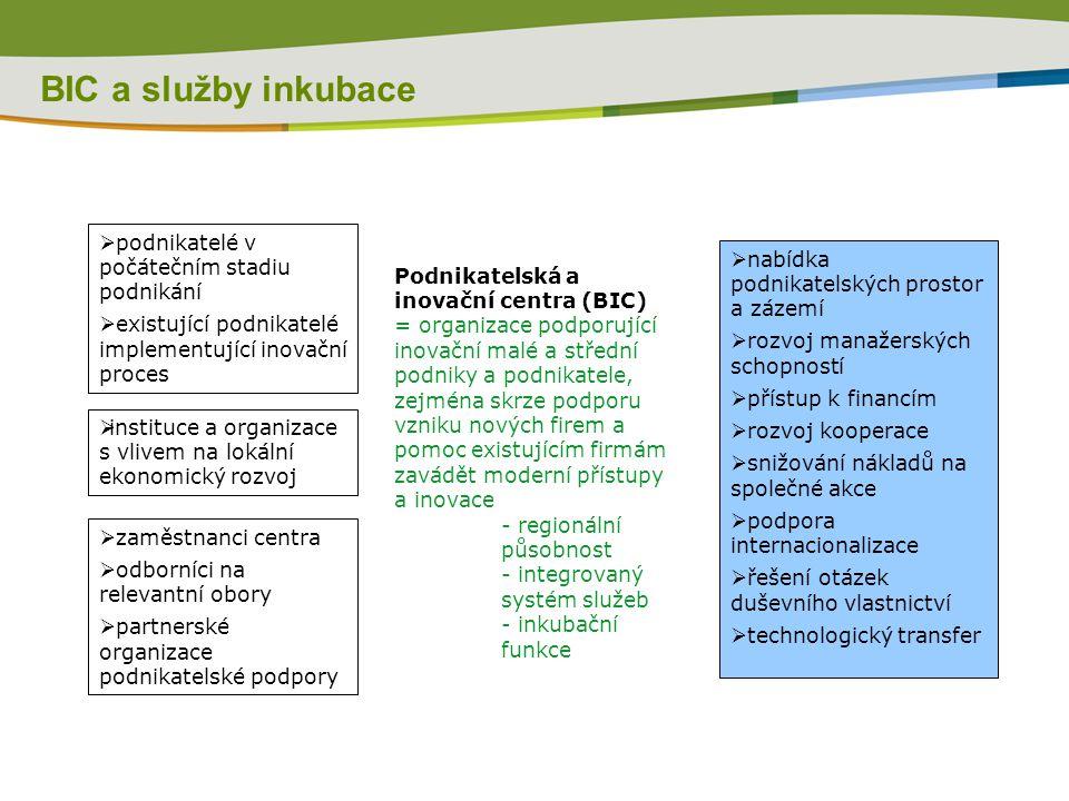 BIC a služby inkubace Podnikatelská a inovační centra (BIC) = organizace podporující inovační malé a střední podniky a podnikatele, zejména skrze podp