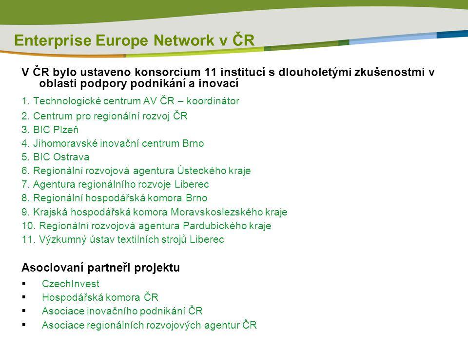 Enterprise Europe Network v ČR V ČR bylo ustaveno konsorcium 11 institucí s dlouholetými zkušenostmi v oblasti podpory podnikání a inovací 1. Technolo