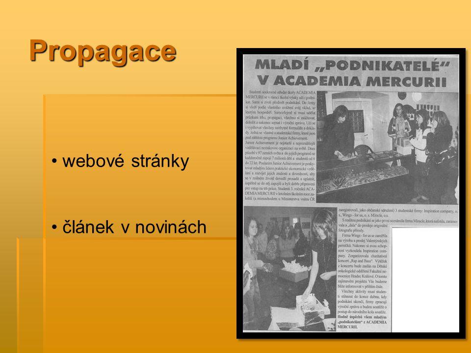 Propagace webové stránky článek v novinách