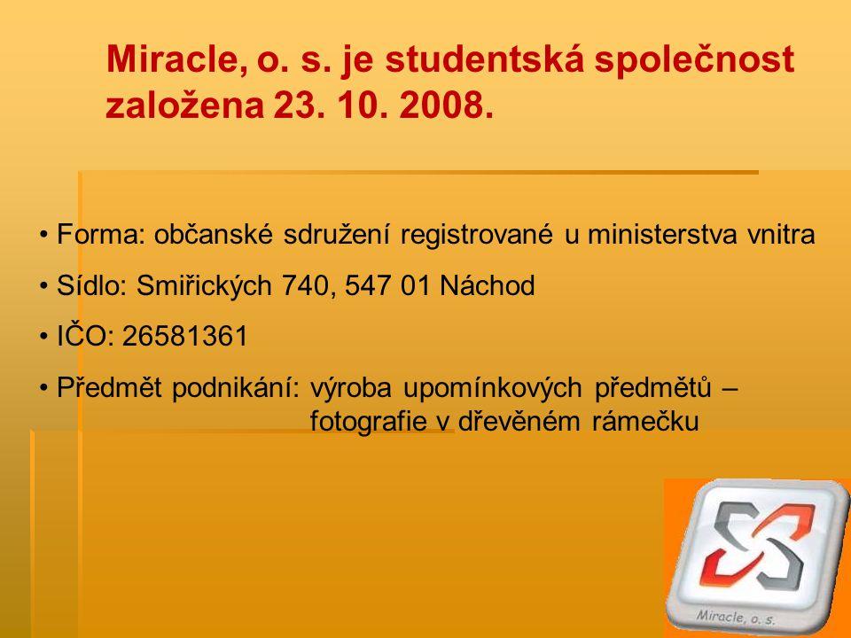 Miracle, o. s. je studentská společnost založena 23.