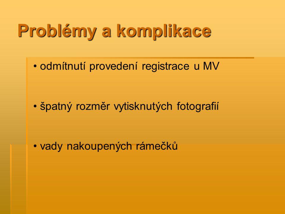 Problémy a komplikace odmítnutí provedení registrace u MV špatný rozměr vytisknutých fotografií vady nakoupených rámečků