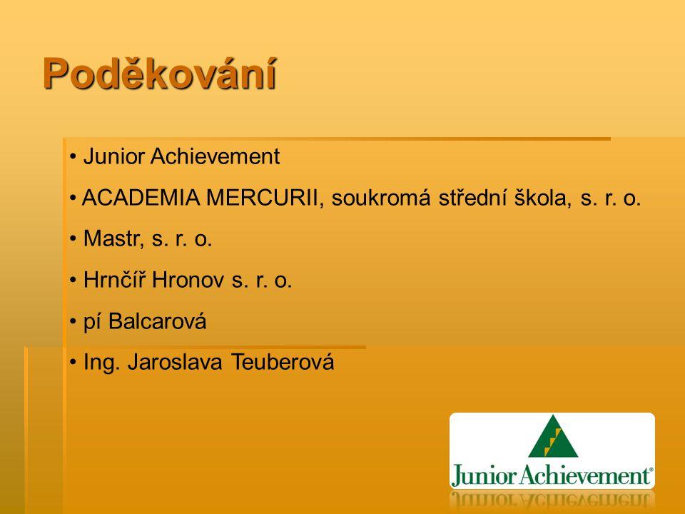 Poděkování Junior Achievement ACADEMIA MERCURII, soukromá střední škola, s.