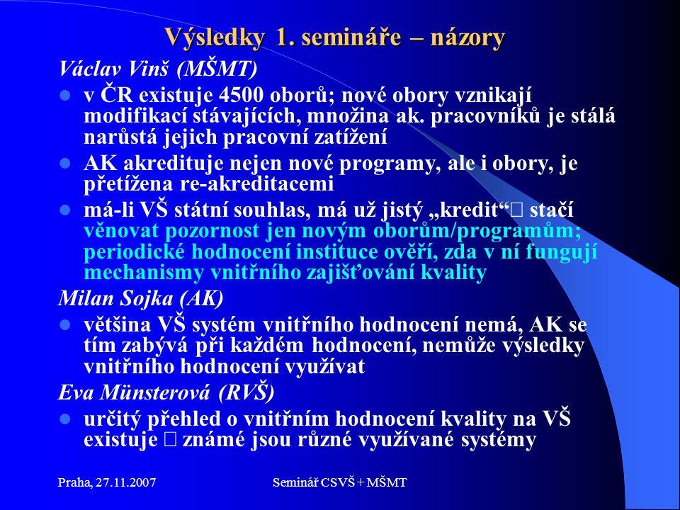 Praha, 27.11.2007Seminář CSVŠ + MŠMT Výsledky 1.