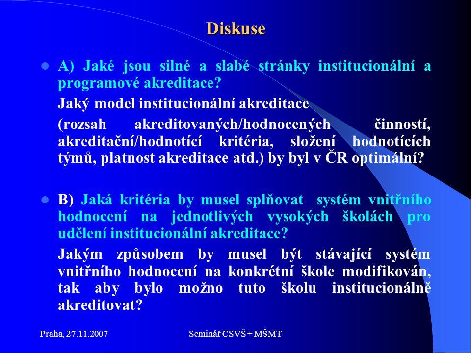 Praha, 27.11.2007Seminář CSVŠ + MŠMT Diskuse A) Jaké jsou silné a slabé stránky institucionální a programové akreditace.