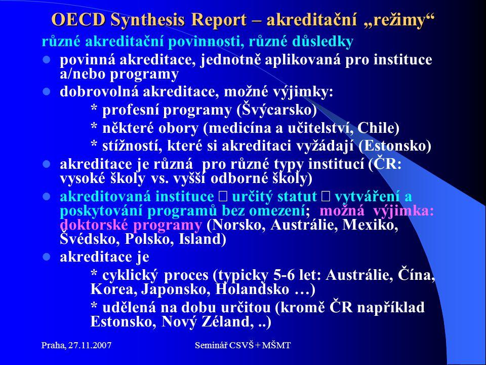 """Praha, 27.11.2007Seminář CSVŠ + MŠMT OECD Synthesis Report – akreditační """"režimy různé akreditační povinnosti, různé důsledky povinná akreditace, jednotně aplikovaná pro instituce a/nebo programy dobrovolná akreditace, možné výjimky: * profesní programy (Švýcarsko) * některé obory (medicína a učitelství, Chile) * stížností, které si akreditaci vyžádají (Estonsko) akreditace je různá pro různé typy institucí (ČR: vysoké školy vs."""