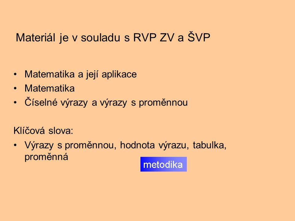 Materiál je v souladu s RVP ZV a ŠVP Matematika a její aplikace Matematika Číselné výrazy a výrazy s proměnnou Klíčová slova: Výrazy s proměnnou, hodnota výrazu, tabulka, proměnná