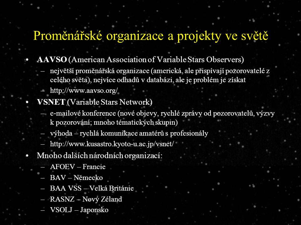 Proměnářské organizace a projekty ve světě AAVSO (American Association of Variable Stars Observers) –největší proměnářská organizace (americká, ale přispívají pozorovatelé z celého světa), nejvíce odhadů v databázi, ale je problém je získat –http://www.aavso.org/ VSNET (Variable Stars Network) –e-mailové konference (nové objevy, rychlé zprávy od pozorovatelů, výzvy k pozorování; mnoho tématických skupin) –výhoda – rychlá komunikace amatérů s profesionály –http://www.kusastro.kyoto-u.ac.jp/vsnet/ Mnoho dalších národních organizací: –AFOEV – Francie –BAV – Německo –BAA VSS – Velká Británie –RASNZ – Nový Zéland –VSOLJ – Japonsko