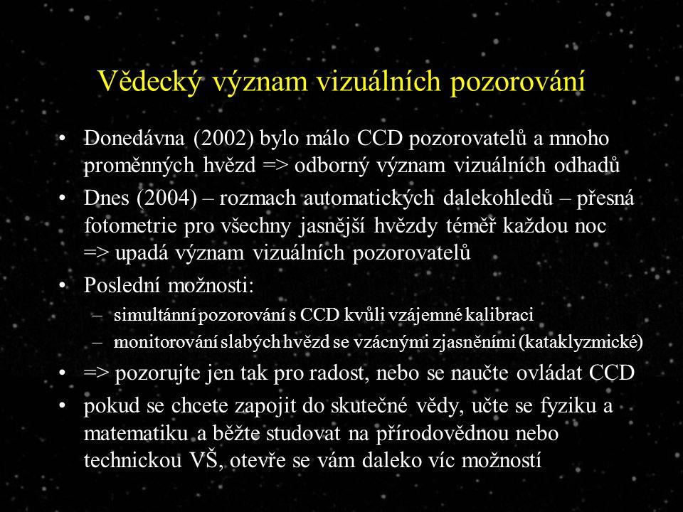Vědecký význam vizuálních pozorování Donedávna (2002) bylo málo CCD pozorovatelů a mnoho proměnných hvězd => odborný význam vizuálních odhadů Dnes (2004) – rozmach automatických dalekohledů – přesná fotometrie pro všechny jasnější hvězdy téměř každou noc => upadá význam vizuálních pozorovatelů Poslední možnosti: –simultánní pozorování s CCD kvůli vzájemné kalibraci –monitorování slabých hvězd se vzácnými zjasněními (kataklyzmické) => pozorujte jen tak pro radost, nebo se naučte ovládat CCD pokud se chcete zapojit do skutečné vědy, učte se fyziku a matematiku a běžte studovat na přírodovědnou nebo technickou VŠ, otevře se vám daleko víc možností