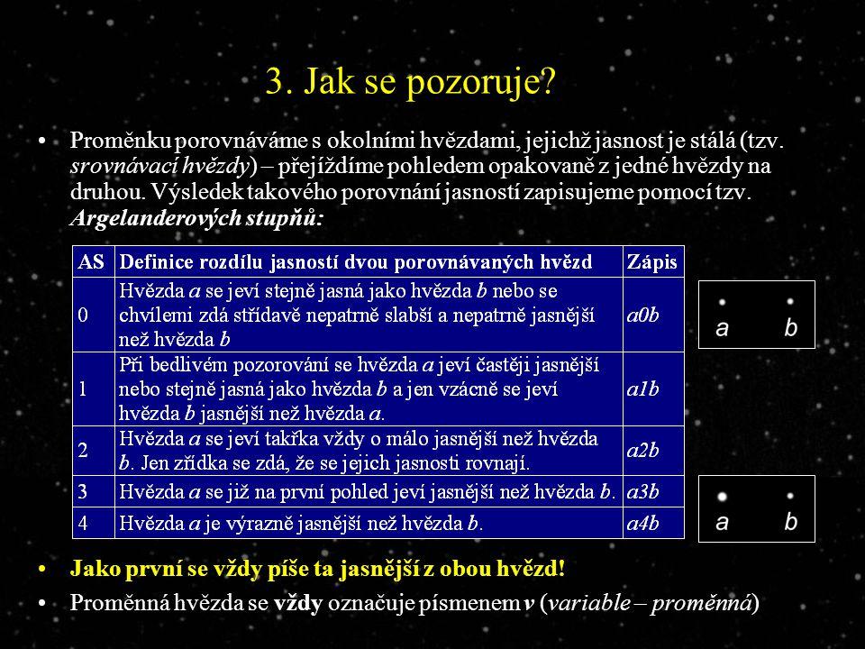 3. Jak se pozoruje. Proměnku porovnáváme s okolními hvězdami, jejichž jasnost je stálá (tzv.