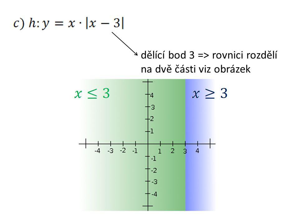 dělící bod 3 => rovnici rozdělí na dvě části viz obrázek