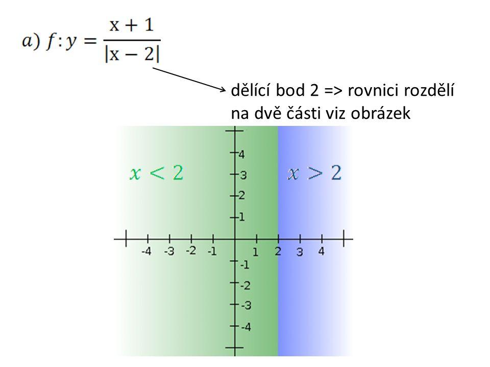 dělící bod 2 => rovnici rozdělí na dvě části viz obrázek