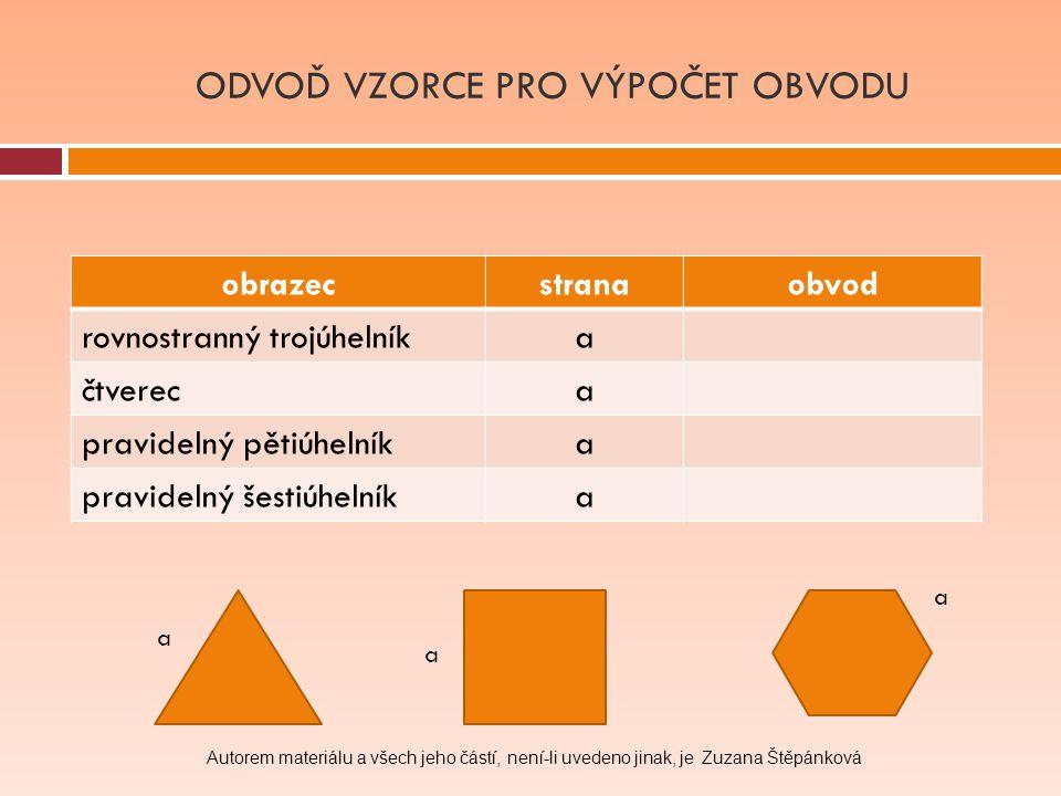 obrazecstranaobvod rovnostranný trojúhelníka čtvereca pravidelný pětiúhelníka pravidelný šestiúhelníka ODVOĎ VZORCE PRO VÝPOČET OBVODU a a a Autorem m