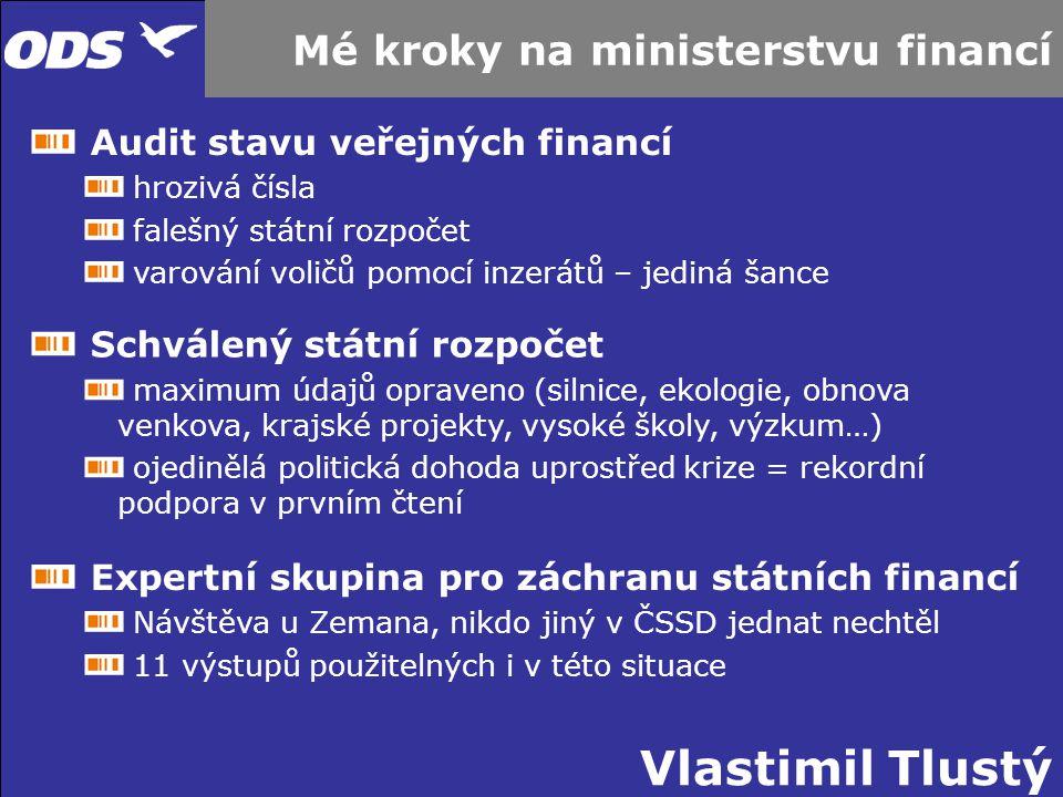 Vlastimil Tlustý Mé kroky na ministerstvu financí Audit stavu veřejných financí hrozivá čísla falešný státní rozpočet varování voličů pomocí inzerátů