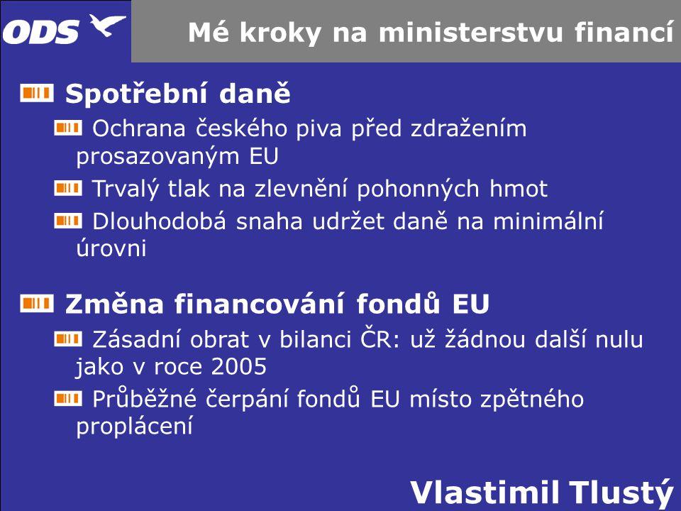Vlastimil Tlustý Mé kroky na ministerstvu financí Spotřební daně Ochrana českého piva před zdražením prosazovaným EU Trvalý tlak na zlevnění pohonných