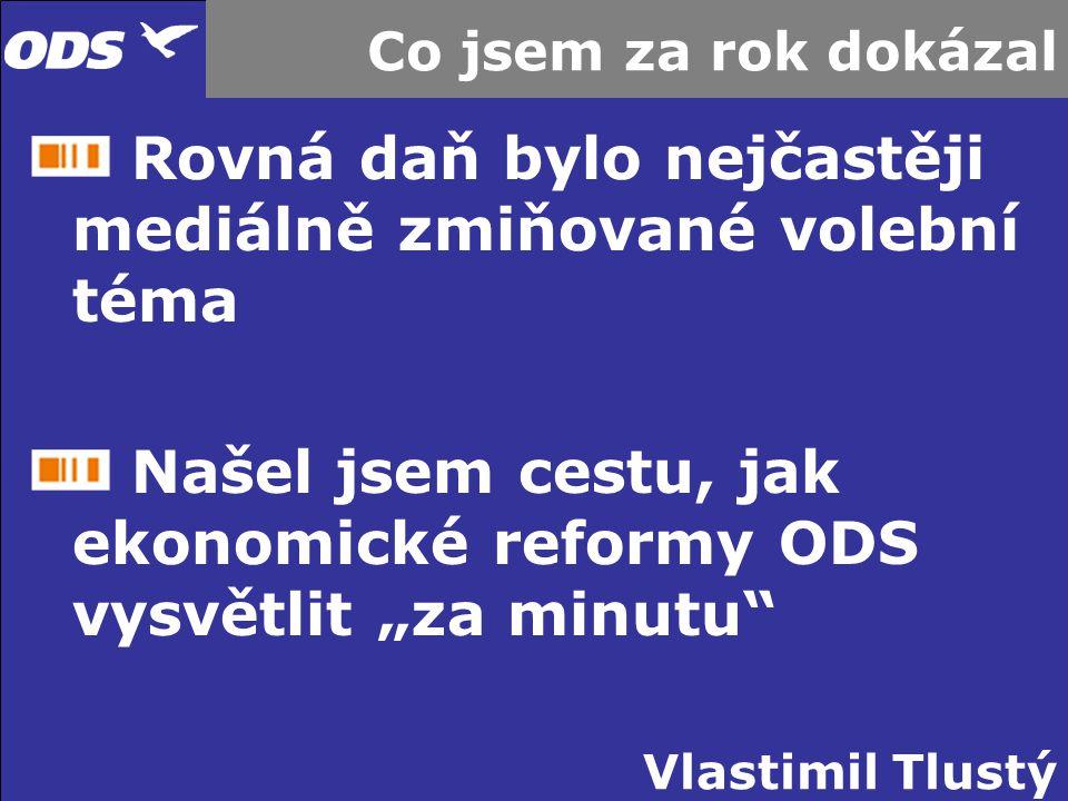 Vlastimil Tlustý Co jsem za rok dokázal Rovná daň bylo nejčastěji mediálně zmiňované volební téma Našel jsem cestu, jak ekonomické reformy ODS vysvětl