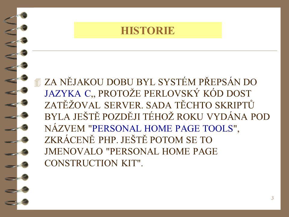 4 V POLOVINĚ ROKU 1995 SE SYSTÉM PHP SPOJIL S JINÝM PROGRAMEM STEJNÉHO AUTORA, A TO SICE S NÁSTROJEM FORM INTERPRETER NEBOLI ZKRÁCENĚ FI.