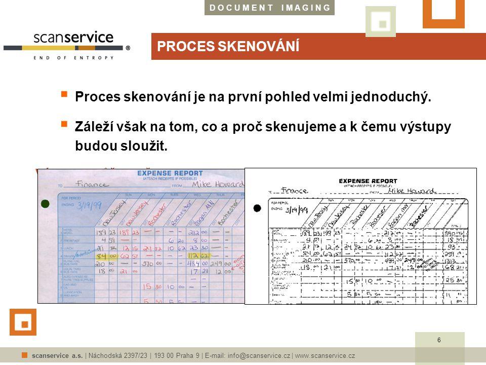 D O C U M E N T I M A G I N G scanservice a.s. | Náchodská 2397/23 | 193 00 Praha 9 | E-mail: info@scanservice.cz | www.scanservice.cz PROCES SKENOVÁN