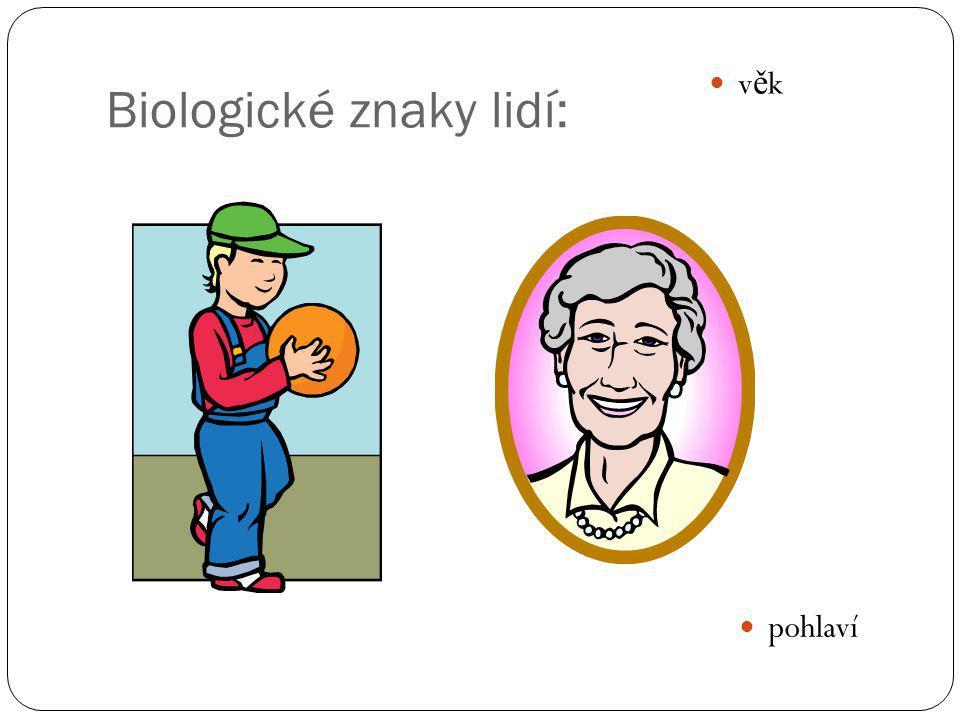 Biologické znaky lidí: v ě k pohlaví