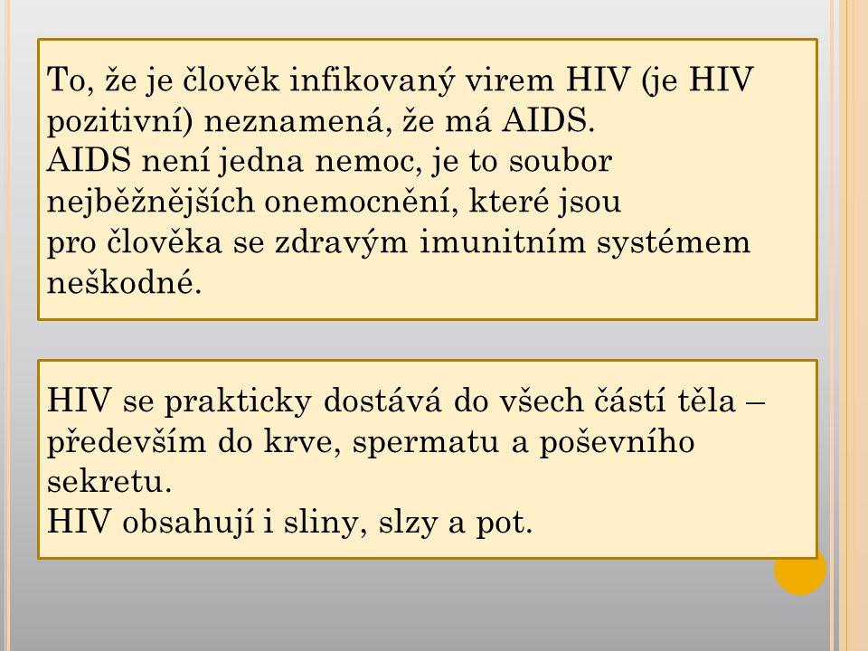 HIV se prakticky dostává do všech částí těla – především do krve, spermatu a poševního sekretu.