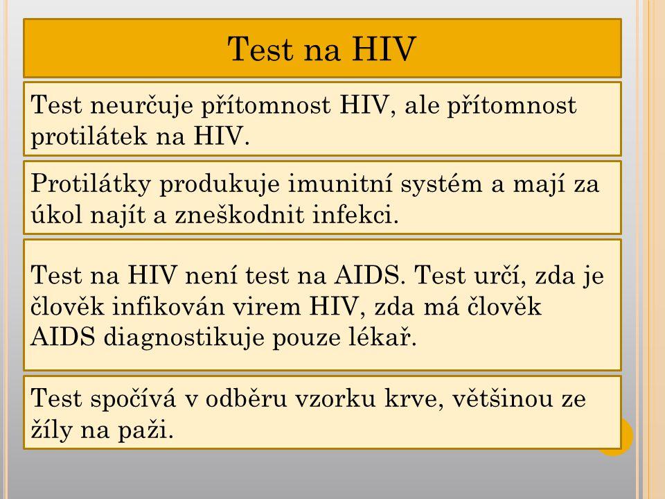 Test na HIV Test neurčuje přítomnost HIV, ale přítomnost protilátek na HIV.